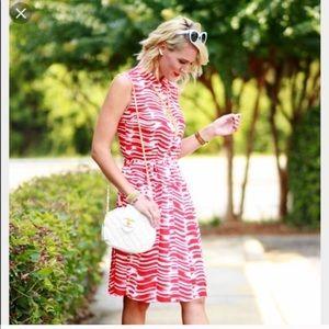 CAbi Brushstroke Red White Dress #281 Size XS